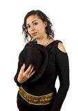 Young Woman Wears a Hat. Young Salsa Dancer Woman Wears a Hat Royalty Free Stock Image