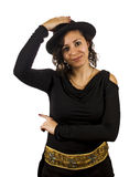 Young Woman Wears a Hat. Young Salsa Dancer Woman Wears a Hat Royalty Free Stock Images