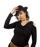 Young Woman Wears a Hat. Young Salsa Dancer Woman Wears a Hat Royalty Free Stock Photography