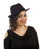 Young Woman Wears a Hat Stock Photo