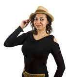 Young Woman Wears a Hat. Young Salsa Dancer Woman Wears a Hat Stock Photography