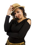 Young Woman Wears a Hat. Young Salsa Dancer Woman Wears a Hat Stock Image