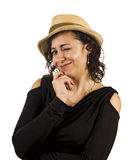 Young Woman Wears a Hat. Young Salsa Dancer Woman Wears a Hat Stock Photos
