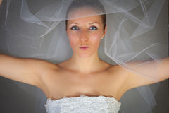 Young woman in wedding dress Stock Images