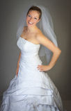 Young woman in wedding dress. In studio Royalty Free Stock Photo