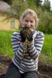 Young woman weeding tillage Stock Images