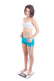 Young woman on a weighing machine Royalty Free Stock Photo