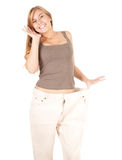Young woman weight lose Royalty Free Stock Photo