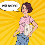 Young Woman with Weights and Big Jeans Happy of Dieting Results. Healthy Lifestyle. Pop Art illustration Stock Images
