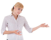 Young woman with welcome gesture Royalty Free Stock Photos