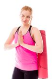 Young woman welcoming with hands clasped Stock Photography