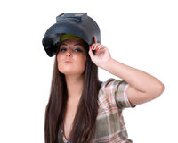 Young woman in welding mask. Royalty Free Stock Photos