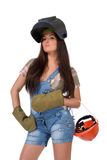 Young woman in welding mask Stock Image