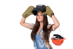 Young woman in welding mask Royalty Free Stock Photography