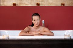 Young woman wellness bathing Royalty Free Stock Images