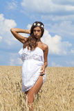 Young woman in a wheat golden field Royalty Free Stock Photography