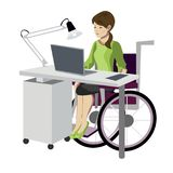 Young woman in wheelchair working with computer vector illustration