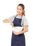Young Woman With Whisk And Bowl. Stock Images