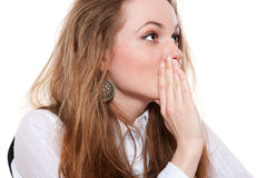 Young woman whispering gossip Royalty Free Stock Photo