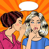 Young Woman Whispering Secret to her Friend. Pop Art Stock Photos