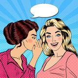 Young Woman Whispering Secret to her Friend. Pop Art Stock Photo