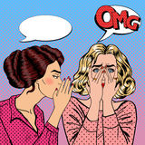 Young Woman Whispering Secret to her Friend. Pop Art Royalty Free Stock Photography