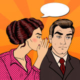 Young Woman Whispering Secret to her Husband. Pop Art Stock Photo