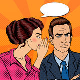 Young Woman Whispering Secret to her Husband. Pop Art Stock Image