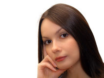 Young woman on white background Royalty Free Stock Images