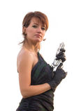 Young woman on white background holding a gun Royalty Free Stock Photo