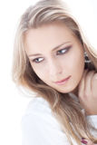 Young woman on white background portrait Stock Photos