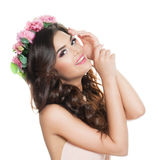 Young Woman on White Background. Spring Beauty, F Royalty Free Stock Photos