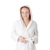Young woman in white bathrobe Stock Photos