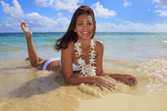 Young woman in a white bikini Royalty Free Stock Photo