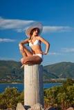 Young woman in white bikini. Beautiful young woman in white bikini Royalty Free Stock Images