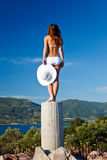 Young woman in white bikini Royalty Free Stock Image
