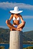 Young woman in white bikini. Beautiful young woman in white bikini Royalty Free Stock Photos