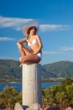 Young woman in white bikini. Beautiful young woman in white bikini Royalty Free Stock Image