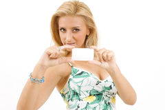 Young woman with white cardboard Stock Photography