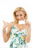 Young woman with white cardboard Stock Photo