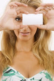 Young woman with white cardboard Stock Photos