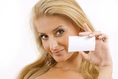 Young woman with white cardboard Royalty Free Stock Photo