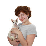 Young woman with white cat Stock Image