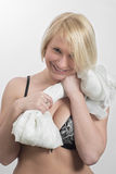 Young woman with a white cloth Royalty Free Stock Photography