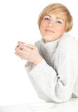 Young woman with white cup Royalty Free Stock Images