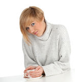 Young woman with white cup Stock Image