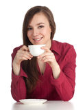 Young woman with white cup Stock Photography