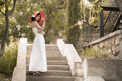 Young woman with white dress Stock Photo