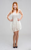 Young woman in a white dress Stock Photo