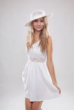 Young woman in a white dress Royalty Free Stock Photography